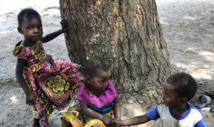 Niños jugando junto a un arbol